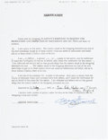 Music Memorabilia:Autographs and Signed Items, Beatles - George Harrison Signed Document (1992)....