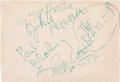 Music Memorabilia:Autographs and Signed Items, Beatles Signed Autograph Book Page (c. 1963)....