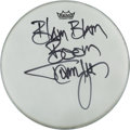 Music Memorabilia:Autographs and Signed Items, Motley Crue - Tommy Lee Signed Drumhead...