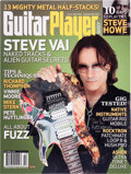 Music Memorabilia:Autographs and Signed Items, Steve Vai Autographed Guitar Player Cover Print (2014)....