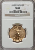 Modern Bullion Coins, 2010 $25 Half-Ounce Gold Eagle MS70 NGC. NGC Census: (2480). PCGS Population (18). Numismedia Wsl. Price for problem free ...