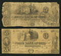 Obsoletes By State:Ohio, Toledo, OH- The State Bank of Ohio, Commercial Branch Counterfeit$3; Counterfeit $5 Nov. 1, 1848; Faded UNL; C1418 (SENC) W...(Total: 2 notes)