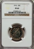 Proof Barber Quarters: , 1912 25C PR65 NGC. NGC Census: (39/36). PCGS Population (40/24). Mintage: 700. Numismedia Wsl. Price for problem free NGC/P...