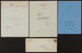 Autographs:Letters, Legendary Baseball Executives Letters and Card Lot Of 3 (Plus OneEnvelope)....