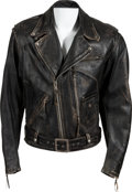 "Movie/TV Memorabilia:Costumes, An Arnold Schwarzenegger Signed Motorcycle Jacket from ""Terminator2: Judgement Day.""..."
