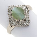 Estate Jewelry:Rings, Cat's-Eye Chrysoberyl, Diamond, White Gold Ring. ...