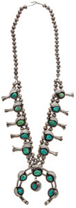 Estate Jewelry:Necklaces, Turquoise, Silver Squash Blossom Necklace. ...
