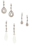 Estate Jewelry:Earrings, Rock Crystal, Diamond, White Gold Stud Additions. ... (Total: 3 Items)