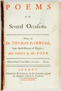 Books:Literature 1900-up, Thomas Parnell. Poems on Several Occasions. London: H. Lintot, 1737. Boards lacking. Ex-library, with ink stamp and ...
