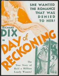 """Day of Reckoning (MGM, 1933). Herald (4 1/2"""" X 5 3/4""""). Prison film. Directed by Wilfred Lucas and Charles J..."""