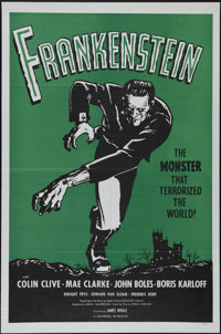 "Frankenstein (Universal, R-1960s). One Sheet (27"" X 41""). Horror. Directed by James Whale. Starring Colin Cliv..."