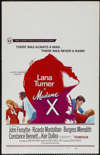 "Madame X (Universal, 1966). Window Card (14"" X 22""). Courtroom Drama. Directed by David Lowell Rich. Starring..."