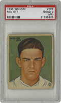 Baseball Cards:Singles (1930-1939), 1933 Goudey Mel Ott #127 PSA Good 2 (MK). A fantastically cleanimage area on this Hall of Fame card from the Depression-er...