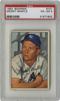 Baseball Cards:Singles (1950-1959), 1952 Bowman Mickey Mantle #101 PSA VG/EX 4. The Mick's secondappearance in a Bowman set, offering a pensive portrait of th...