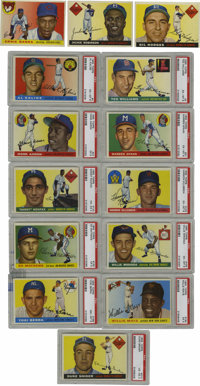 1955 Topps Baseball Near Complete Set (204/206). Near complete set (missing only #164 Clemente, 186) includes PSA 8 NM-M...