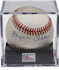 Autographs:Baseballs, Mel Allen Single Signed Baseball PSA Mint 9. The Hall of Famebroadcaster offers a brilliant sweet spot signature on an OAL...