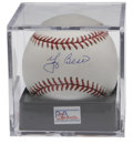 Autographs:Baseballs, Yogi Berra Single Signed Baseball PSA Mint+ 9.5. The charismaticHall of Fame Yankees catcher applies his flawless blue ink...