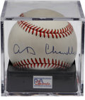 Autographs:Baseballs, Happy Chandler Single Signed Baseball PSA NM-MT 8. ONL (White)baseball offers a strong sweet spot signature from this Coop...
