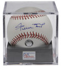 Autographs:Baseballs, Willie Mays Single Signed Baseball PSA Gem Mint 10. Truly pristinecollectible pairs a magnificent blue ink sweet spot sign...