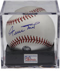 Autographs:Baseballs, Willie Mays Single Signed Baseball PSA Mint 9. The Say Hey Kidapplies his blue ink sweet spot signature to an OML ball. M...