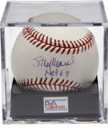 Autographs:Baseballs, Stan Musial Single Signed Baseball PSA Mint+ 9.5. Stan the Manapplies his flawless blue ink signature to the sweet spot of...
