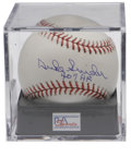 "Autographs:Baseballs, Duke Snider Single Signed Baseball PSA Mint+ 9.5. ""The Duke ofFlatbush"" adds a notation regarding his career home run tota..."
