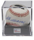 Autographs:Baseballs, Ted Williams Single Signed Baseball PSA NM-MT+ 8.5. OAL (Brown) ball bearing Williams' personal holographic authenticating ...
