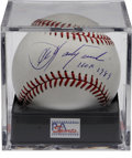 Autographs:Baseballs, Carl Yastrzemski Single Signed Baseball PSA Mint 9. The hero of theRed Sox' amazing 1967 season makes note of his 1989 Hal...