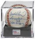 Autographs:Baseballs, 500 Home Run Club Members Signed Baseball PSA NM-MT 8. Four of thegame's top sluggers--Frank Robinson, Reggie Jackson, Wil...