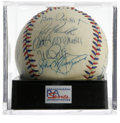 Autographs:Baseballs, 1984 U.S. Olympics Team Signed Baseball PSA NM 7. The Silver Medalwinners at the Los Angeles Games celebrate here on this ...