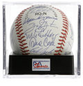 Autographs:Baseballs, 1989 New York Mets Team Signed Baseball PSA Mint 9. Overtwenty-four bold blue ink signatures from this powerhouseNational...