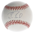 Autographs:Baseballs, Barry Bonds Single Signed Baseball. This man has dominated theheadlines this season with his climb up the all-time home ru...