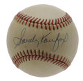 Autographs:Baseballs, Sandy Koufax Single Signed Baseball. Nice vintage cream color ONL(Feeney) baseball has a perfect Sandy Koufax signature ac...