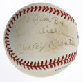 Autographs:Baseballs, Mickey Mantle Single Signed Baseball with Inscription. OfficialAmerican League ball has been signed on the side panel by M...