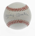 Autographs:Baseballs, Mickey Mantle Single Signed Baseball. The Mick holds the distinction of being one of the finest switch hitters to ever wiel...