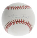 Autographs:Baseballs, Willie Mays Single Signed Baseball. Mays has applied his famoussignature to the sweet spot of this ONL (White) baseball. H...