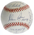 "Autographs:Baseballs, Nolan Ryan Single Signed Stat Baseball. The Hall of Fame hurlerNolan Ryan offers a sweet spot signature with ""HOF 99"" insc..."