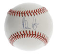Autographs:Baseballs, Nolan Ryan Single Signed Baseball. OAL (Brown) baseball offers10/10 ink sweet spot signature from pitching legend Nolan Ry...