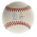 Autographs:Baseballs, Nolan Ryan Single Signed Baseball. Strikeout king Nolan Ryan hasapplied a 10/10 sweet spot signature on the OAL (Brown) we...