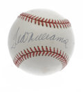 Autographs:Baseballs, Ted Williams Single Signed Baseball. Excellent black ink signature booms across the sweet spot of the OAL (Brown) ball we s...
