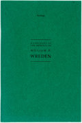 Books:Reference & Bibliography, [Books about Books]. [William P. Wreden]. SIGNED. A Checklist ofthe Imprints of William P. Wreden. San Francisco & ...