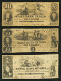 Obsoletes By State:Ohio, Delaware, OH- The State Bank of Ohio, Delaware County BranchCounterfeit $1; Counterfeit $10 (2) 1849-52 C624; C652 (SENC); ...(Total: 3 notes)