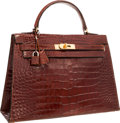 "Luxury Accessories:Accessories, Hermes 32cm Shiny Miel Alligator Sellier Kelly Bag with GoldHardware.. Good Condition . 12.5"" Width x 9"" Height x4""..."