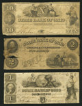Obsoletes By State:Ohio, Zanesville, OH- State Bank of Ohio, Muskingum Branch Counterfeit$1; $2; Counterfeit $10 1849-5? C1660 (SENC); G1668 (SENC);...(Total: 3 notes)