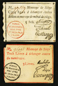 World Currency: , France Siege of Mayence (Mainz) 5 Sols; 3 Livres May 1793 . ...(Total: 2 notes)