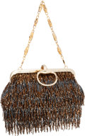 "Luxury Accessories:Bags, Gucci by Tom Ford Limited Edition Brown Beaded Fringe Evening Bag .Excellent Condition . 9"" Width x 5"" Height x 2"" De..."