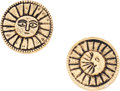 "Luxury Accessories:Accessories, Chanel Gold Sun & Moon Earrings. Good Condition. 1""Width x 1"" Length. ..."
