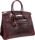 "Luxury Accessories:Bags, Hermes 35cm Shiny Bordeaux Porosus Crocodile Birkin Bag withPalladium Hardware. Pristine Condition. 14"" Width x 10""H..."