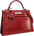 "Luxury Accessories:Bags, Hermes 32cm Shiny Rouge H Nilo Crocodile Sellier Kelly Bag withPalladium Hardware. Pristine Condition. 12.5"" Width x..."