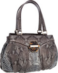 "Luxury Accessories:Bags, Oscar de la Renta Slate Blue Python Shoulder Bag with TortoiseHardware. Very Good Condition . 14"" Width x 12"" Height..."